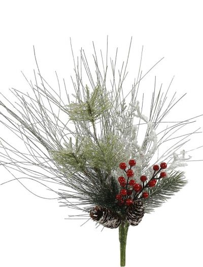 12 inch Frosted Ponderosa Bay Leaf Berry Twig Pine Christmas Pick For Christmas 2014