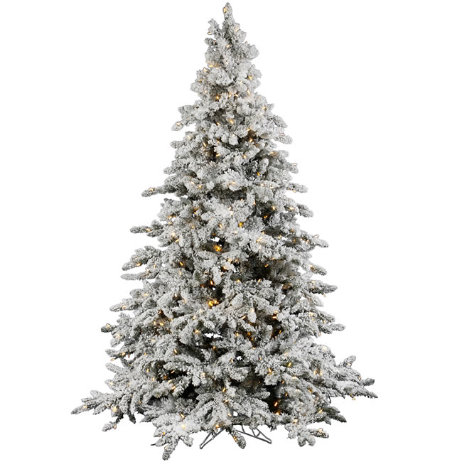 utica flocked pre lit led christmas tree a895196led - Prelit Led Christmas Trees
