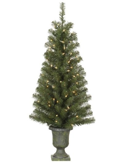 4 foot Potted Christmas Tree in Urn: All-Lit Lights For Christmas 2014
