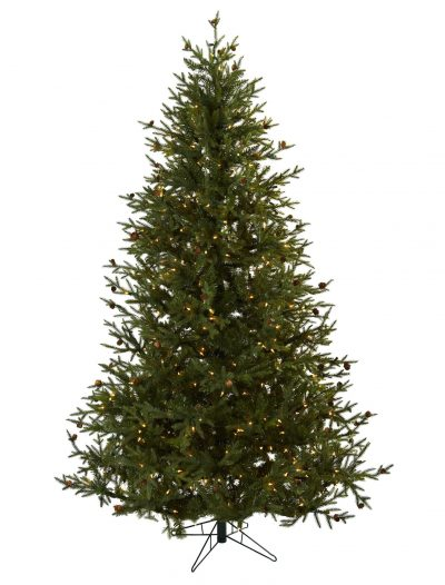 7.5 foot Artificial Classic Pine Christmas Tree w/ Pine Cones: All-lit Lights For Christmas 2014