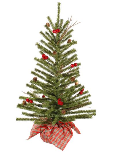 Norway Country Pine Christmas Tree with Plaid Base For Christmas 2014