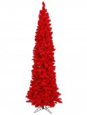 Flocked Red Pencil Pine Christmas Tree For Christmas 2014