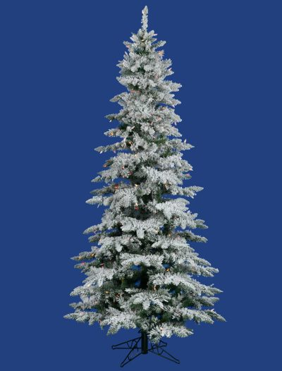 Slim Flocked Utica Fir Christmas Tree For Christmas 2014