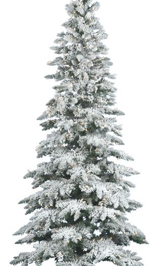 Flocked Utica Fir 6.5' Artificial Christmas Tree with Clear Lights (Christmas Tree)