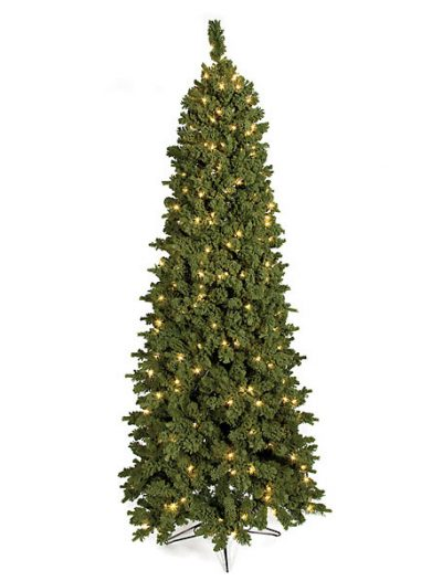 7.5 Foot Slim Flocked Carlston Fir Christmas Tree: Clear All-Lit Lights For Christmas 2014