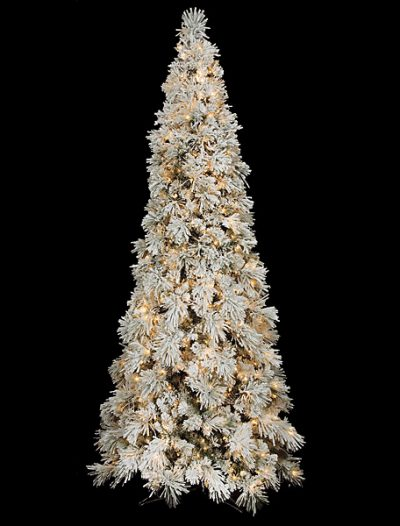10 foot Slim Flocked Needle Fir Christmas Tree: Clear Lights For Christmas 2014