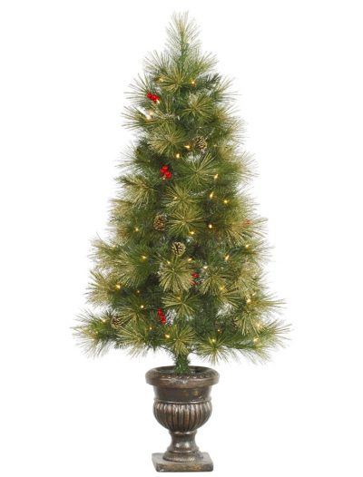 4.5 foot Gold Glitter Pine Christmas Tree with Clear Lights For Christmas 2014