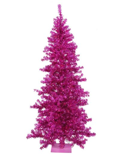 Fuchsia Wide Cut Christmas Tree with Purple Lights For Christmas 2014