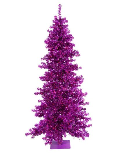 Purple Wide Cut Christmas Tree with Purple Lights For Christmas 2014