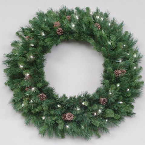 12 foot led artificial christmas wreath cheyenne pine cones