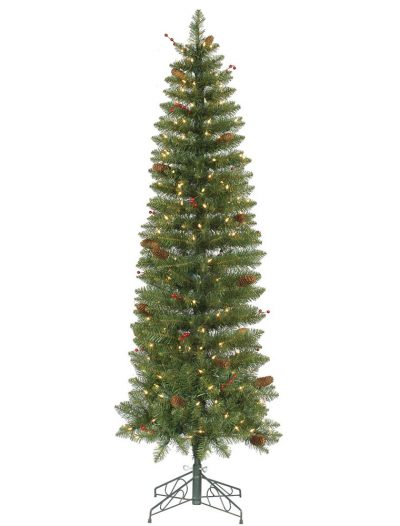 Artificial Salinas Pencil Christmas Tree with Berries & Cones For Christmas 2014