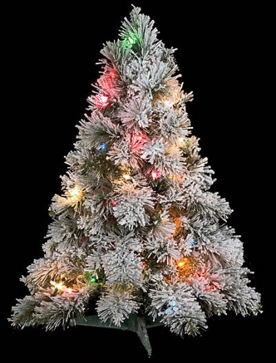 30 inch Flocked Mini Christmas Tree: Multi-Colored Lights For Christmas 2014
