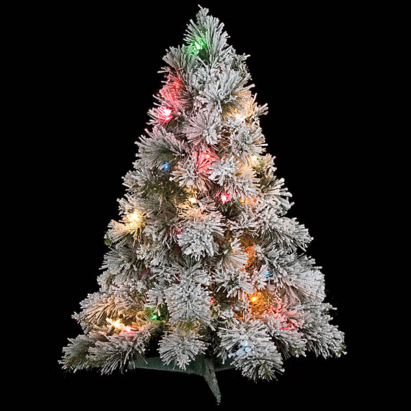 30 inch flocked mini christmas tree multi colored lights. Black Bedroom Furniture Sets. Home Design Ideas