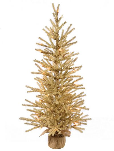 30 inch Champagne Christmas Tree with Clear Lights and Burlap Base For Christmas 2014