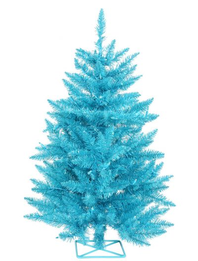 3 foot Sky Blue Christmas Tree with Teal Lights For Christmas 2014