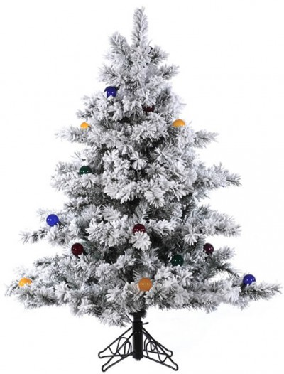 4.5' Vickerman A806348 Flocked Alaskan - Flocked White on Green Christmas Tree (Christmas Tree)