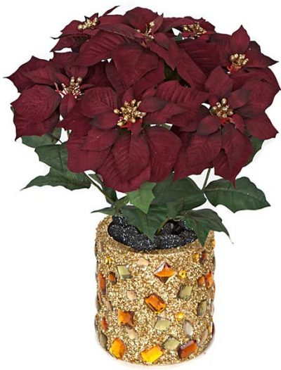 21 inch Velvet Poinsettia Bush w/ Glitter Stamens (Set of 6) For Christmas 2014