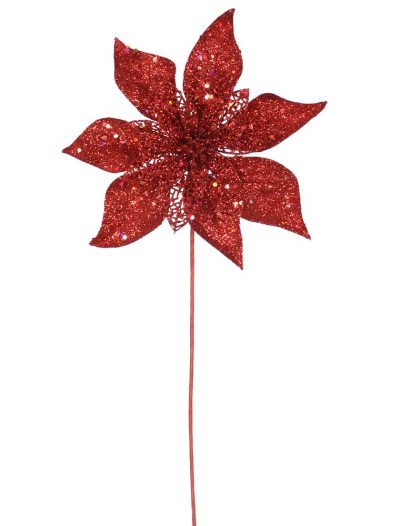 21 inch Artificial Glitter Christmas Poinsettia Stem For Christmas 2014