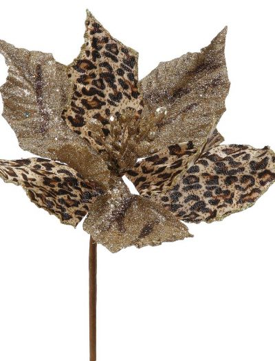 8 inch Leopard Poinsettia Christmas Flower Pick For Christmas 2014