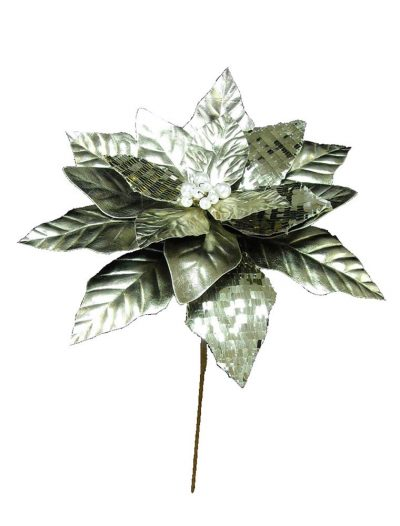 14 inch Platinum Poinsettia Stem Christmas Flower Pick For Christmas 2014