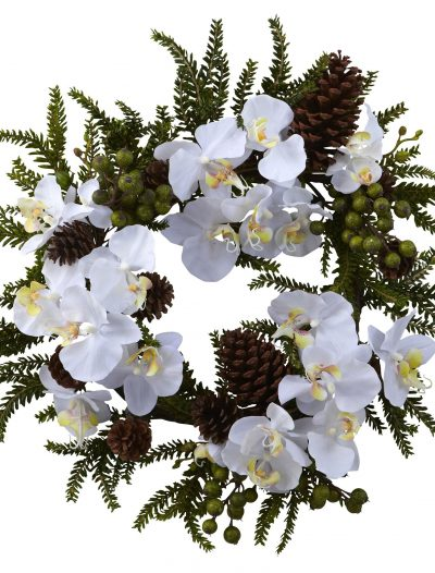 22 inch Artificial Phalaenopsis & Pine Wreath For Christmas 2014