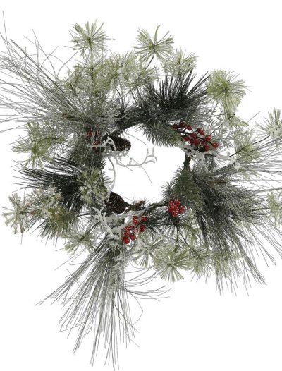 18 inch Frosted Ponderosa Bay Leaf Berry Twig Pine Christmas Wreath For Christmas 2014