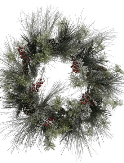 28 inch Frosted Ponderosa Bay Leaf Berry Twig Pine Christmas Wreath For Christmas 2014