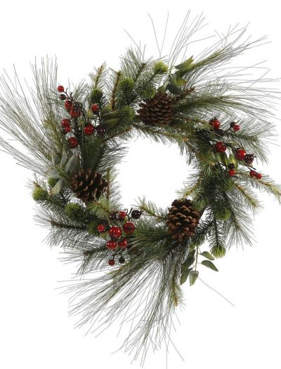 24 inch Mixed Red-Burgundy Berry and Pine Christmas Wreath For Christmas 2014