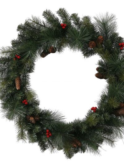 4 foot Outdoor Mixed Pine Berry Cone Christmas Wreath For Christmas 2014