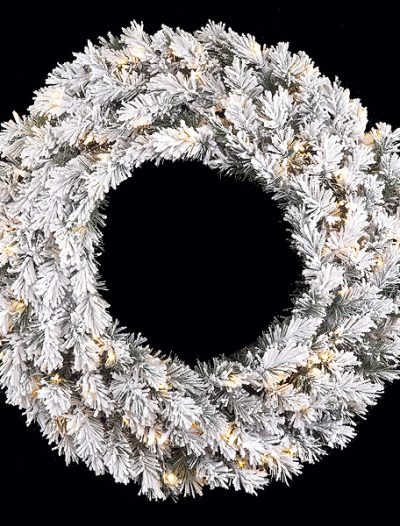 32 inch Heavy Flocked Pine Wreath: Clear Lights For Christmas 2014
