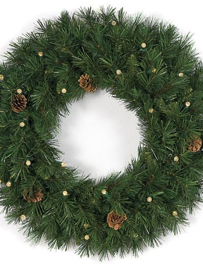 30 Inch Battery Operated Mixed Pine Wreath: LED Lights For Christmas 2014