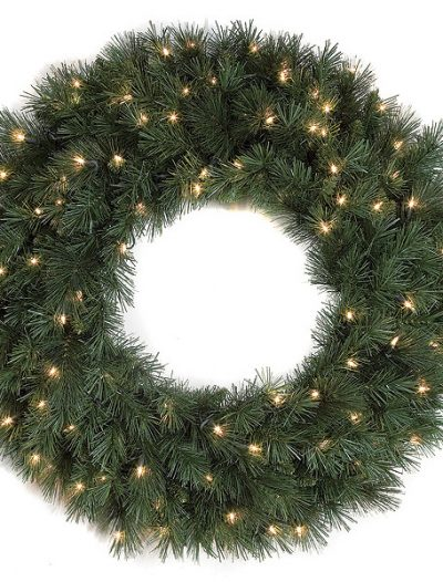 30 inch Pine Wreath: Clear Lights For Christmas 2014