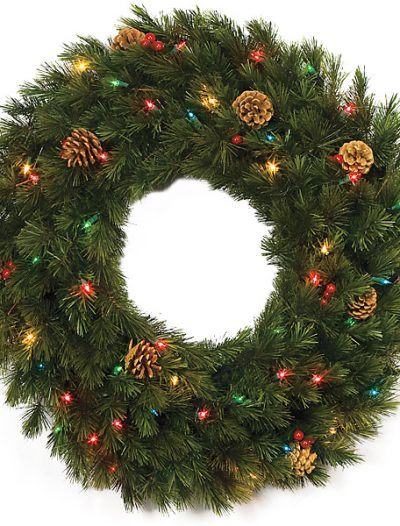 30 Inch Wellington Pine Wreath: Multi-Colored Lights For Christmas 2014