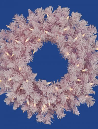 24 inch Pink Flocked Spruce Wreath For Christmas 2014