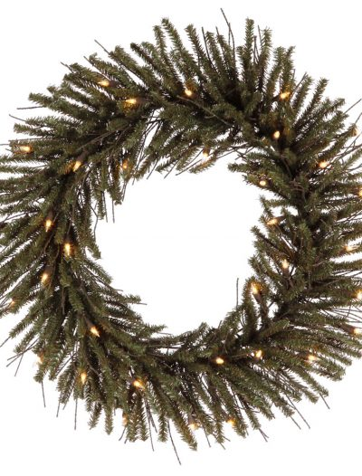 24 inch Vienna Twig Wreath with Clear Lights For Christmas 2014