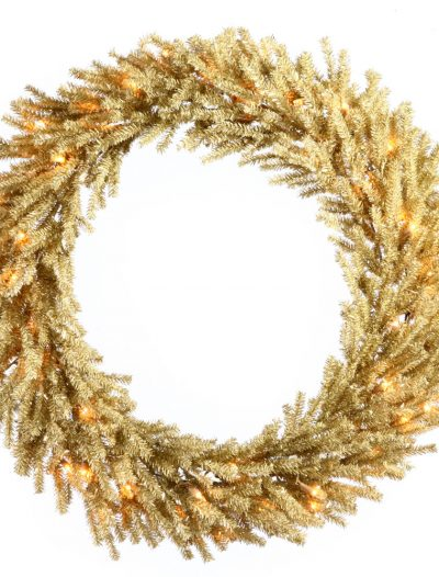 30 inch Champagne Wreath with Clear Lights For Christmas 2014