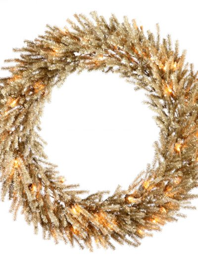 30 inch Mocha Wreath with Clear Lights For Christmas 2014