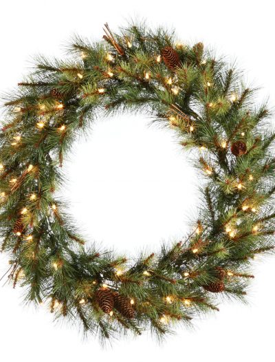 36 inch Caribou Mix Pine Wreath with Clear Lights For Christmas 2014