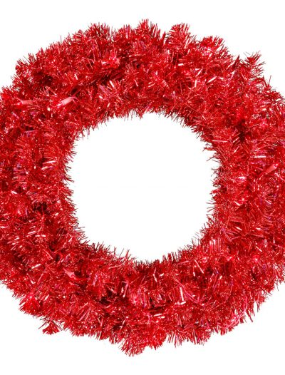 24 inch Red Wreath with Red Lights For Christmas 2014