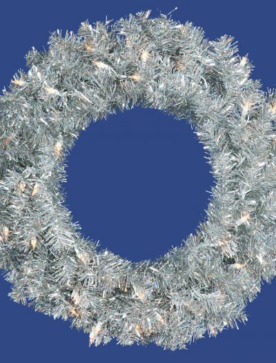 24 inch Silver Wreath with Clear Lights For Christmas 2014