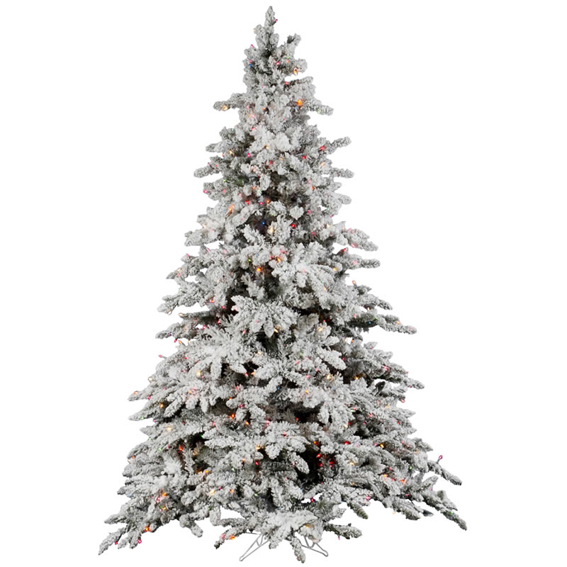 Utica Flocked Pre-lit Christmas Tree - A895182 - Christmas Trees