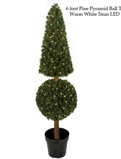 Pine Pyramid Ball Topiary For Christmas 2014