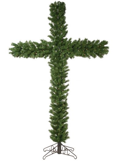 7.5 foot Christmas Cross with Clear Mini Lights For Christmas 2014