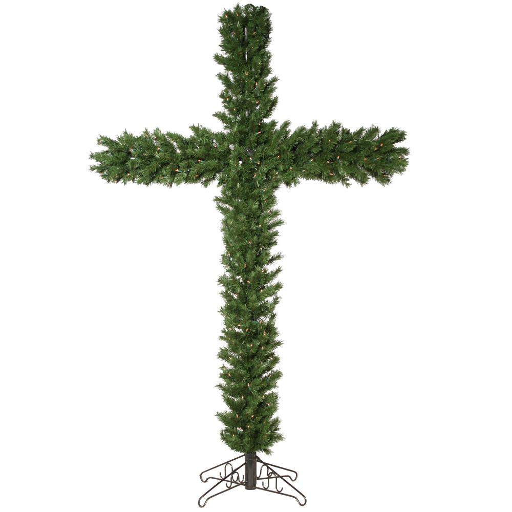 7.5 foot Christmas Cross with Clear Mini Lights - Christmas Trees