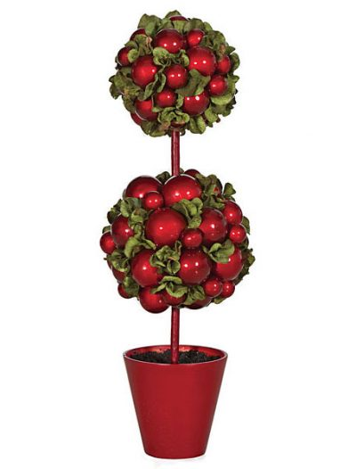 21 inch Double Ball Topiary in Red Pot For Christmas 2014