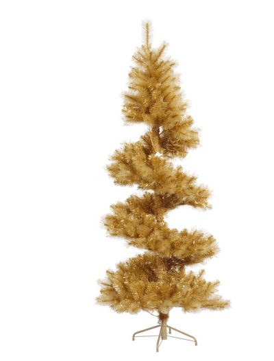 7 foot Gold Glitter Pine Spiral Christmas Tree For Christmas 2014
