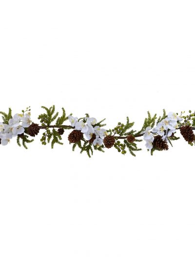 60 inch Artificial Phalaenopsis Orchid & Pine Garland For Christmas 2014