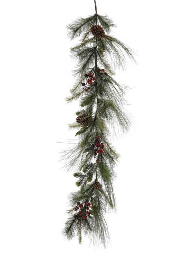 60 inch Mixed Red-Burgundy Berry and Pine Christmas Garland For Christmas 2014