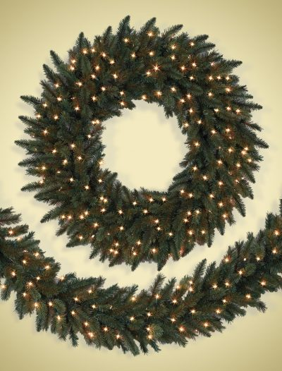 Clear Lights California Baby Redwood Artificial Christmas Wreath (Christmas Tree)
