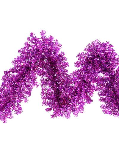 9 foot Purple Wide Cut Garland with Purple Lights For Christmas 2014